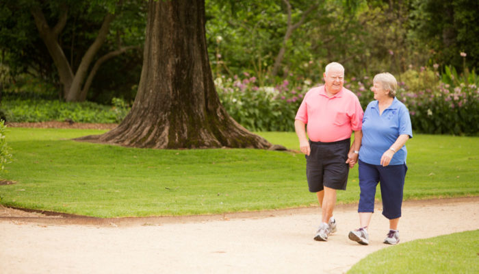 elderly walking for back pain
